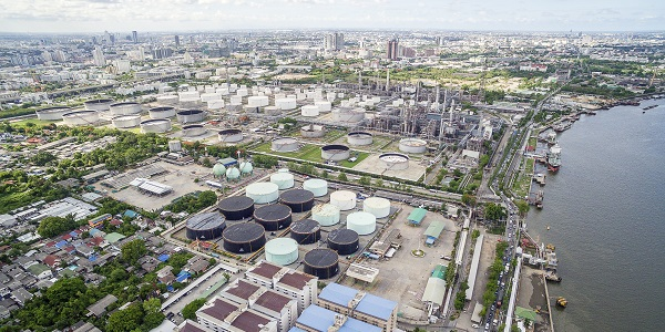 Aerial View of Oil Refinery and Storage Tanks by the Chao Phraya River
